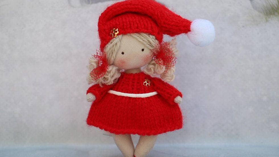 Christmas gift small rag doll for dollhouse 1/12 scale miniature Christmas Elf