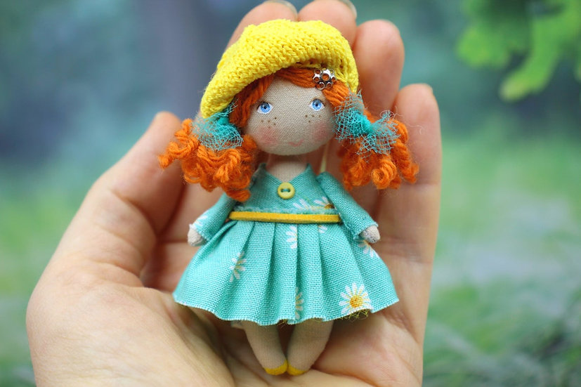 Miniature cloth art collectable doll Nice gift to say I love you or Birthday Redhead