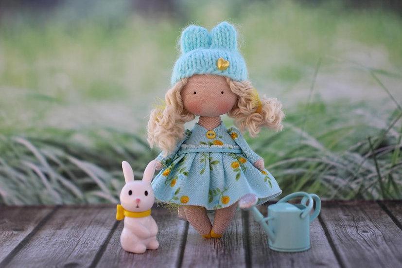 Miniature gift rag rabbit doll bunny art doll in garden