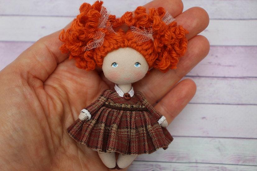 Mini cute rag redhead doll