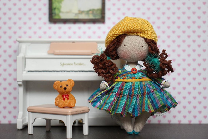 Christmas gift for curly girl Miniature brunette doll Mini collectible doll Art rag doll