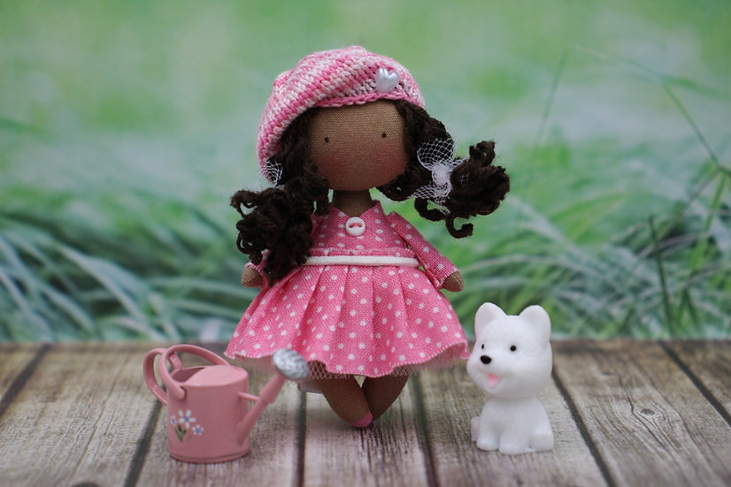 Miniature black cloth art doll for dollhouse 1/12 scale