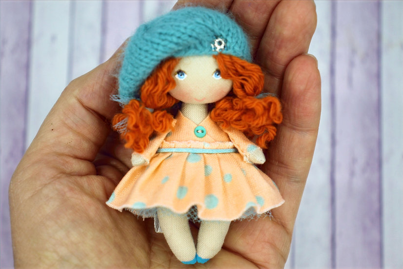 Miniature handpainted cloth art doll for miniature collection