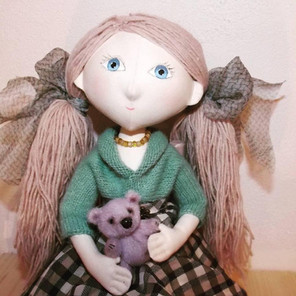 Moppetdols_L1_fabric doll with bear totally handmade, cloth dolls hand crafted.jpg