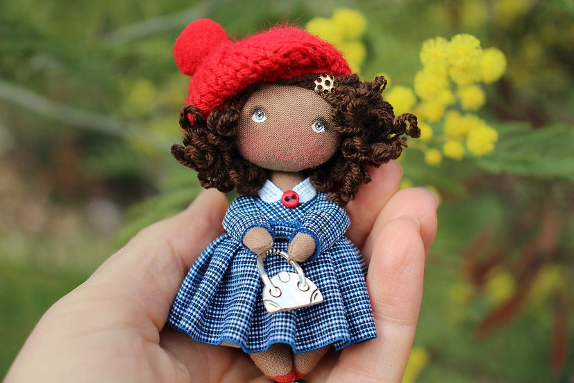 Rag handmade miniature black doll for 1:12 scale collection - in handl