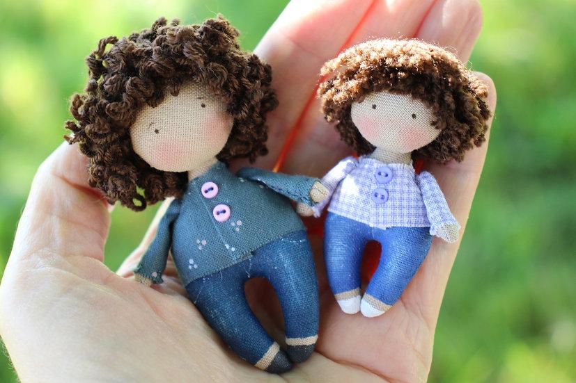 Regalo personalizado familia de muñecas en miniatura a escala 1/12