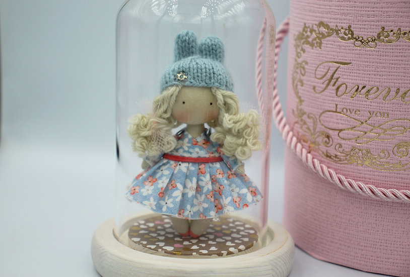 Miniature handmade rag dolls perfect as dolls for dollhouse 112 scale blonde with gift box