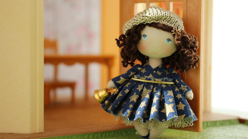Miniature Toy Collectible Fabric Doll for Dollhouse 1/12  perfect Christmas gift