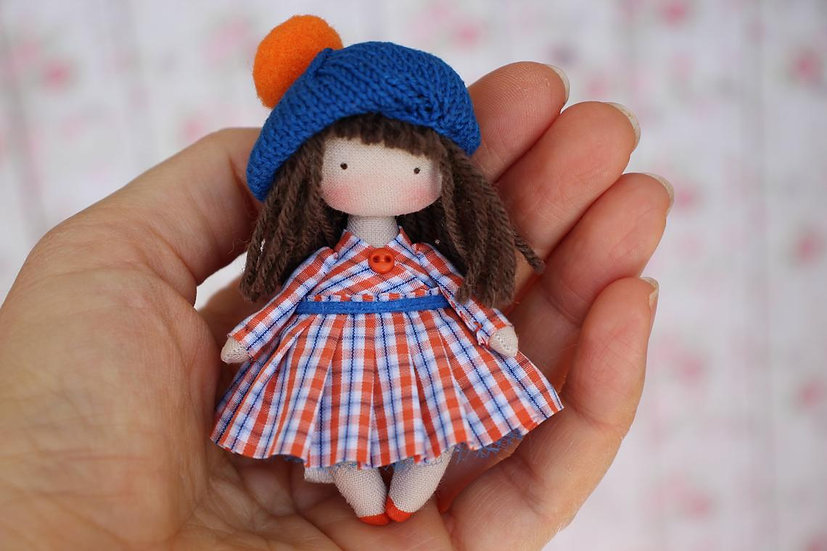 Small doll from fabric for dollhouse 1/12 scale