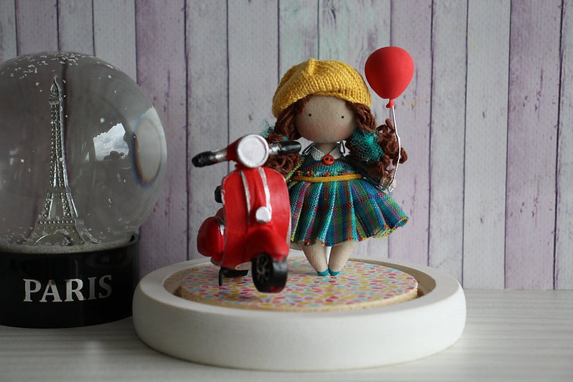 Led night light with miniature cloth doll - Gift for girl decoration Baby room