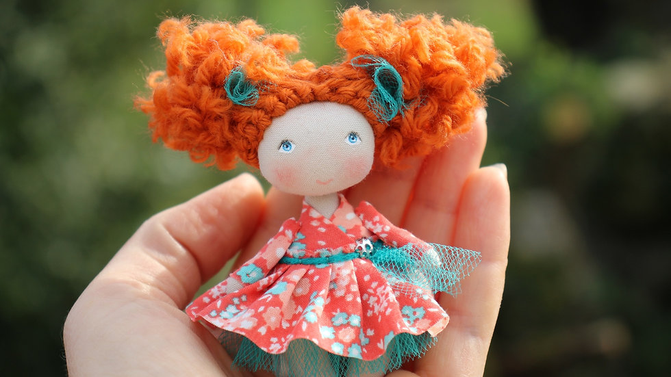 Miniature redhead handmade doll for dollhouse 1/12