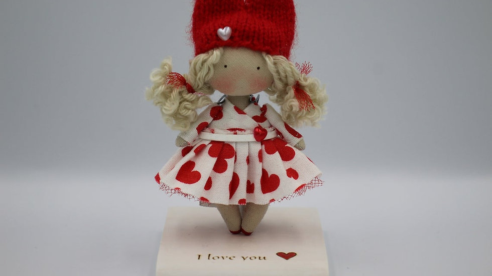 Miniature handmade cloth collectible doll with stand I love you nice St Valentin blonde