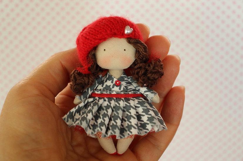 Miniature cloth art collectible brown doll cute mini fabric doll  tiny textile doll