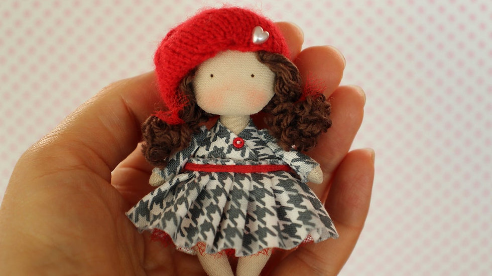 Miniature cloth art collectible brown doll cute mini fabric doll  tiny textile doll