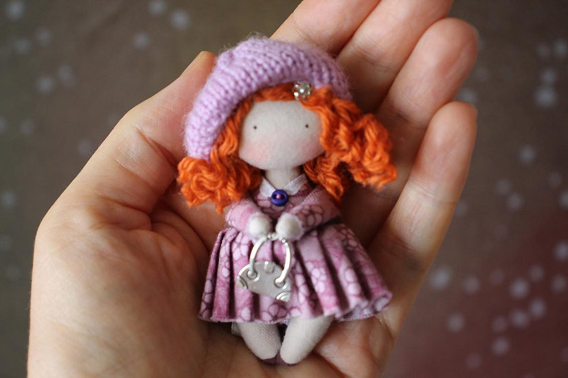 Small Handmade Redhead Fabric Doll for 1 / 12th Scale Dollhouse