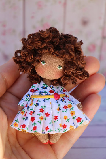 Miniature collectible black doll for dollhouse 1/12