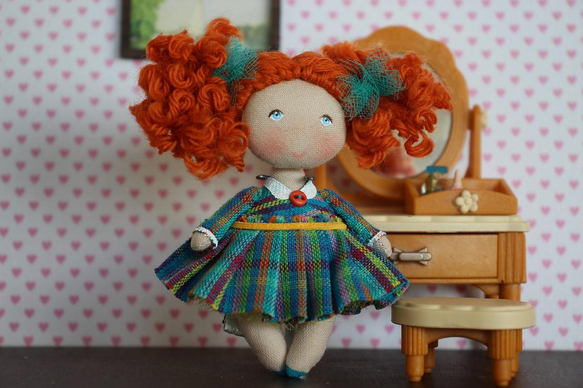 Personalised gift Rag doll Miniature doll Collectible doll Mom gift Grandma gift