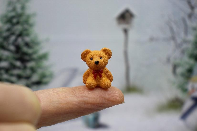 redhead Miniature Bear, Mini Resin Toy Bear, Animal mini doll toy Dollhouse Bear