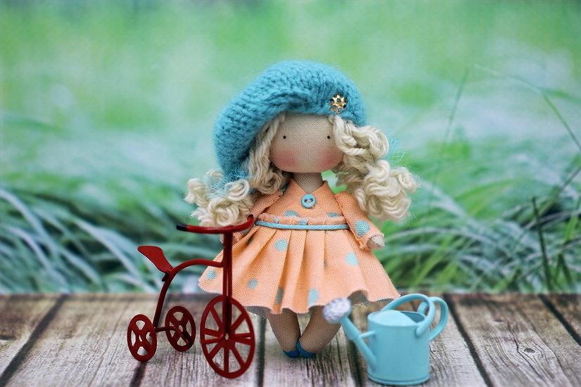Little blonde cloth art doll for dollhouse 1/12