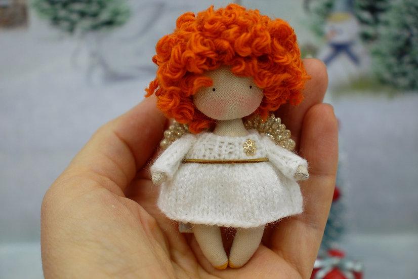 Cute curly mini rag doll Christmas Angel