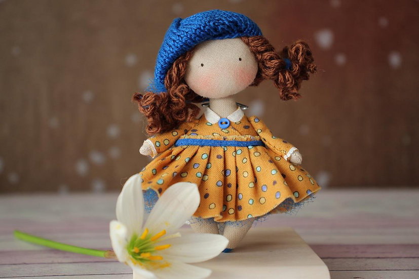 mini Rag doll miniature doll fabric doll collectible doll with flower