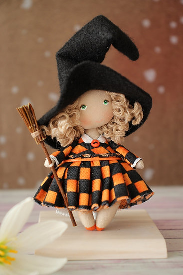 Miniature rag collectible doll small witch Halloween decoration