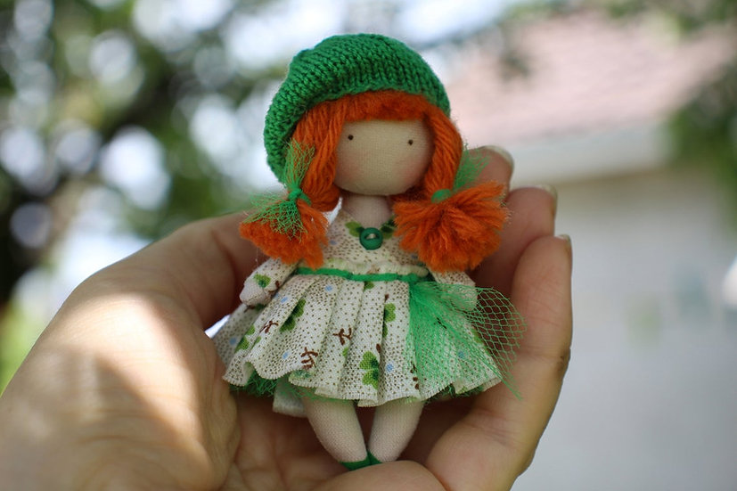 Cute mini rag doll lucky shamrock clover is perfect as St Patrick's day gift