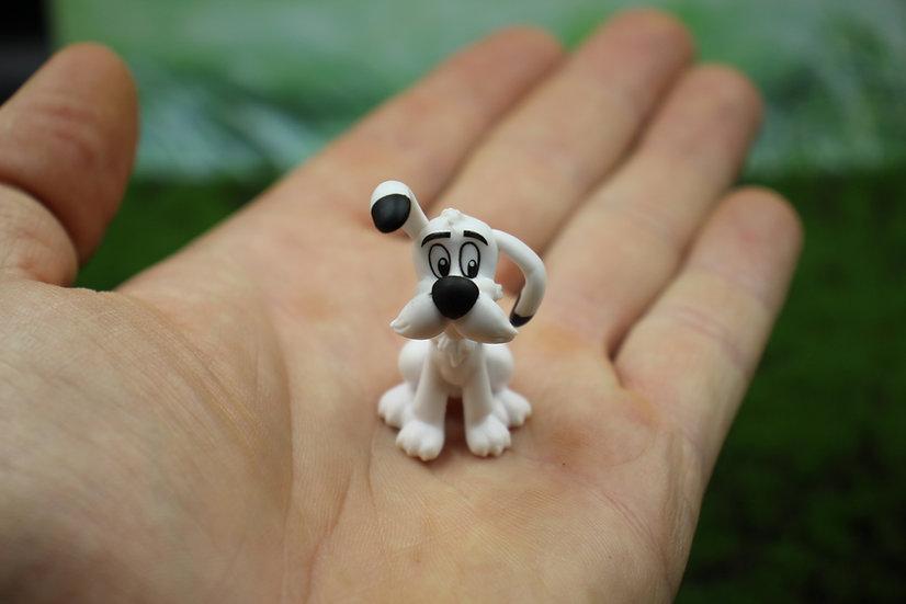 Miniature Asterix Dog figurine, Dogmatix idefix sitting PVC figure, Small dog