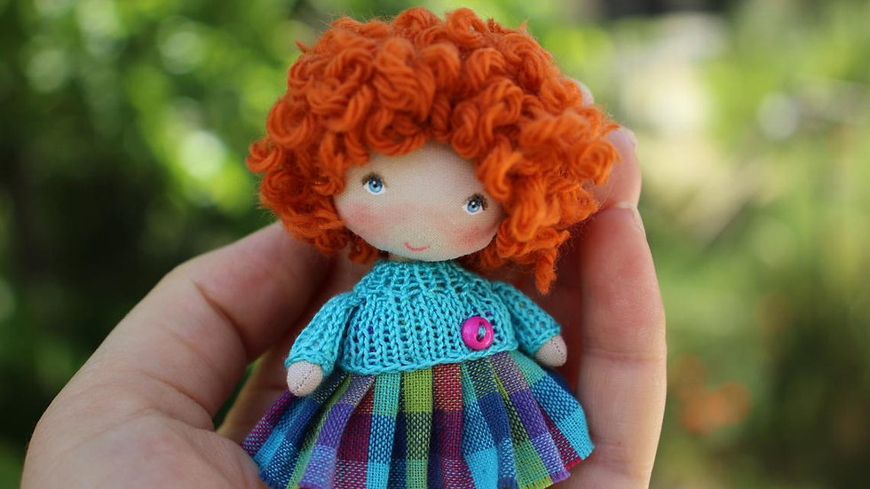 Miniature handmade fabric doll nice personalized gift for curly girl