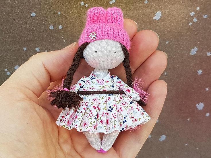 Miniature handmade OOAK 1/12th scale Rabbit Bunny doll for dollhouse
