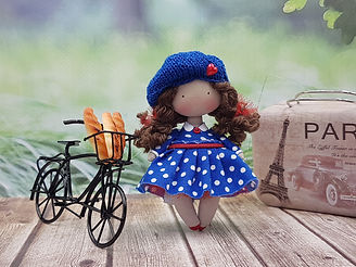 Moppetdolls_miniature rag doll handmade, little cloth doll, tiny fabric doll handcrafted, teeny textile doll, small Parisian doll, bike french bread, mini doll for dollhouse, baguette figures