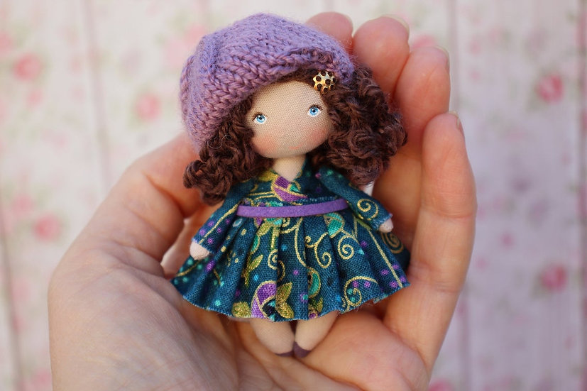 Miniature handmade handpainted cloth doll perfect for dollhouse 1/12 scale brunette