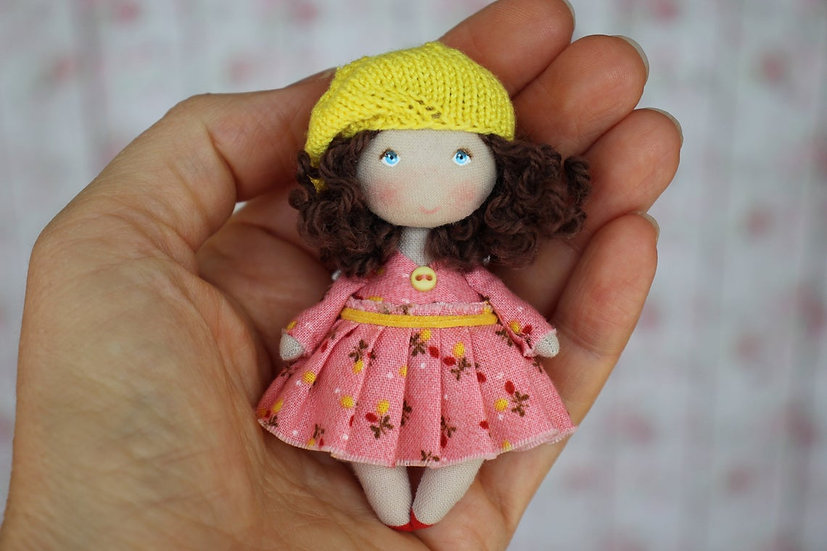 Little fabric handmade doll for dollhouse 1/12 scale Teeny cloth doll Brunette
