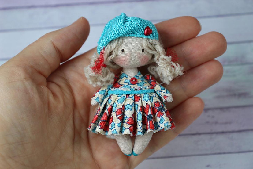 Little fabric handmade blond doll for dollhouse 1/12 scale