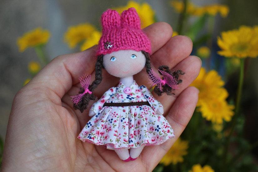 St Valentine gift miniature rabbit bunny doll, miniature fabric dollhouse doll Tiny cloth art doll, mini textile pocket doll