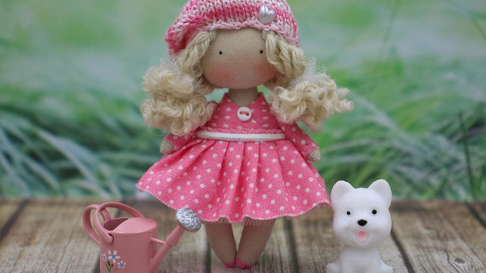Little handmade cloth art collectible doll for dollhouse 1/12 scale - Blonde