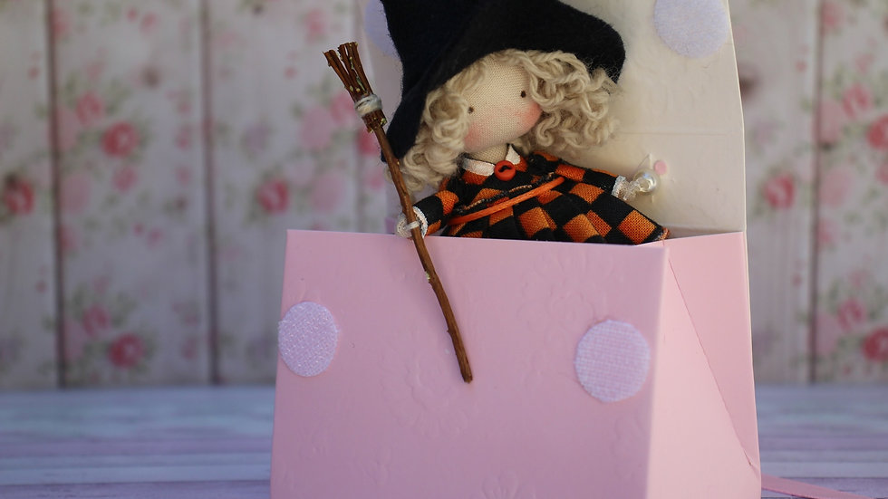 Miniature cloth art doll Halloween witch