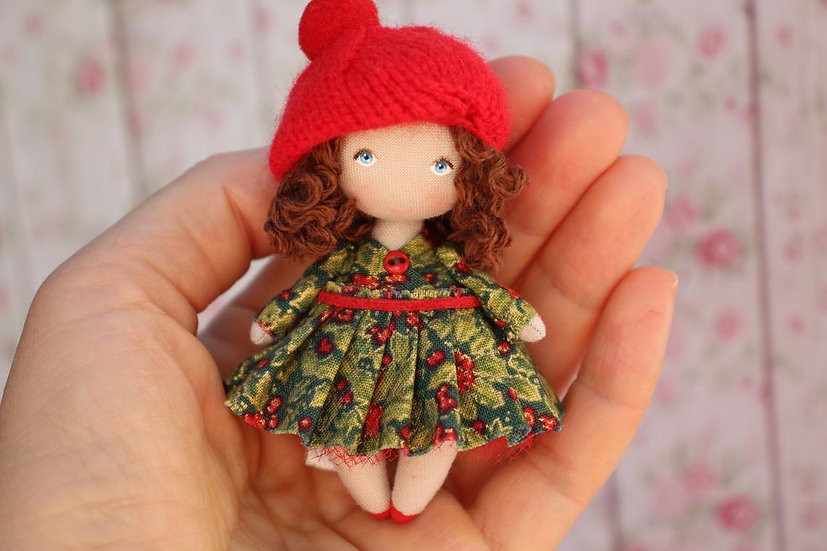 Miniature rag doll ideal for 1/12 scale dollhouse or as a gift for her