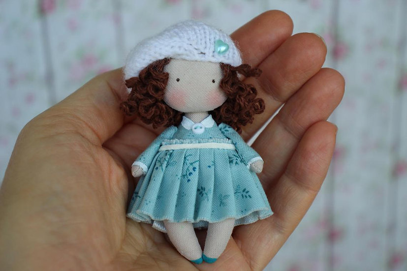 Small Baby Doll Toy - Miniature Fabric brunette Doll for Dollhouse 1:12 Scale