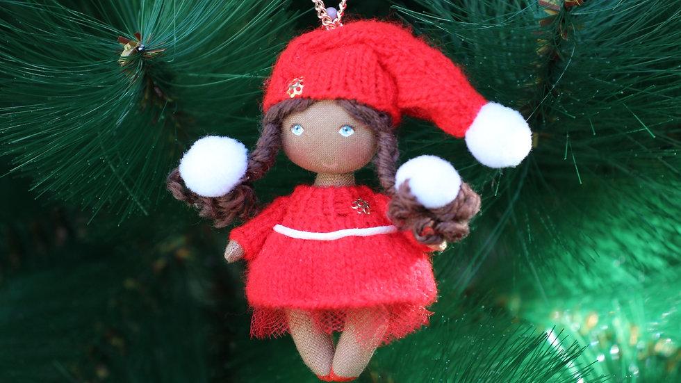 Miniature black rag doll for dollhouse