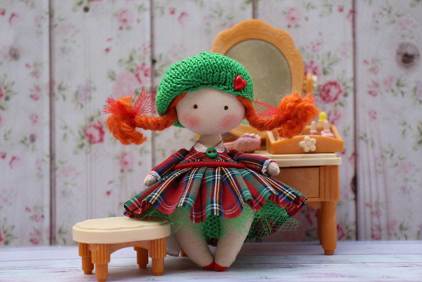 Miniature redhead rag doll for dollhouse 1/12