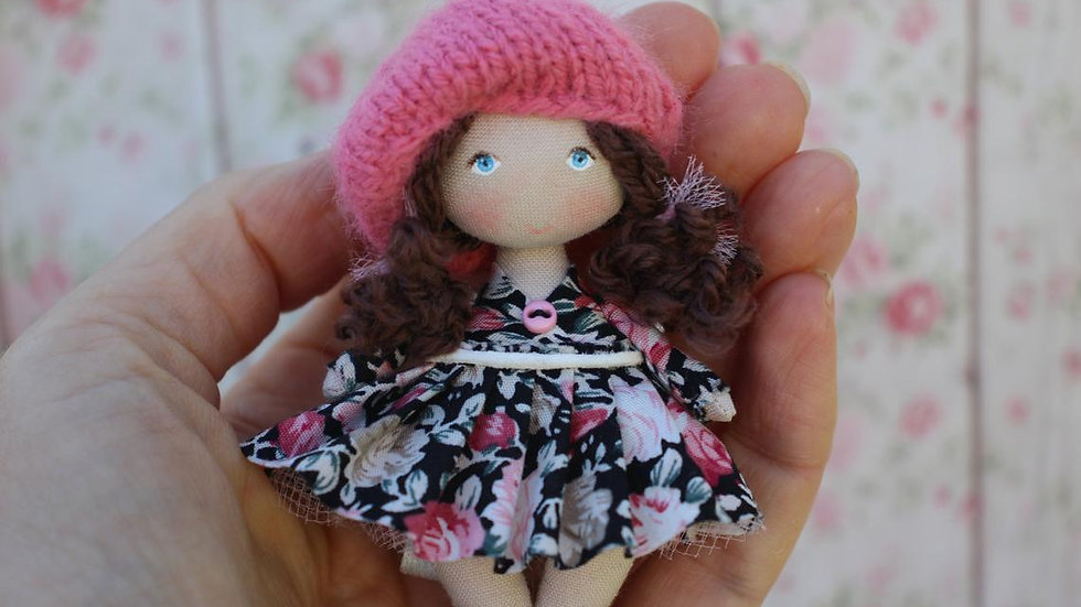 Small handmade collectible OOAK doll for dollhouse 1/12 scale perfect personalized gift for her - in hand