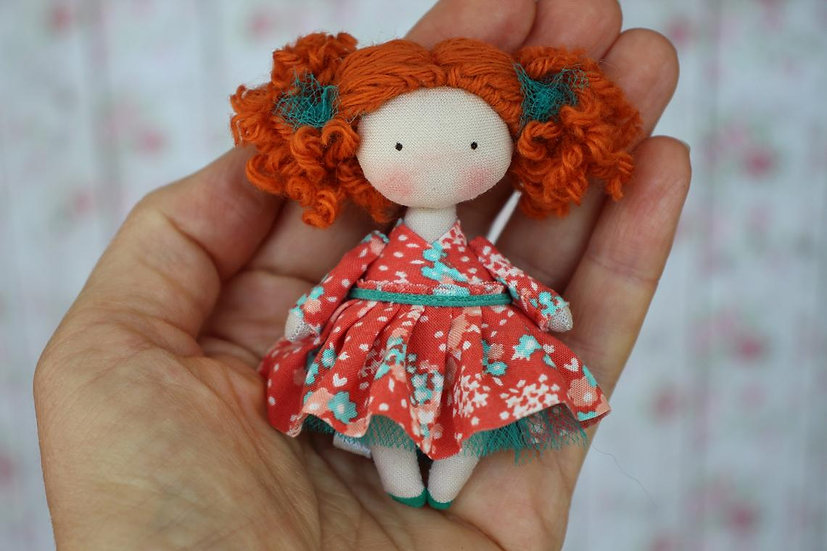 Cute mini fabric handmade redhead doll for dollhouse 112 scale perfect birthday