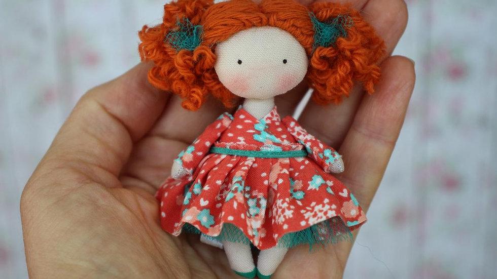 Cute mini fabric handmade redhead doll for dollhouse 112 scale perfect birthday