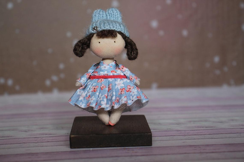 Little handmade OOAK fabric Rabbit hat brun doll for 1/12th scale dollhouse