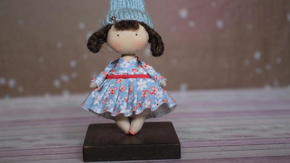 Little handmade OOAK fabric Rabbit hat brun doll for 1/12th scale dollhouse