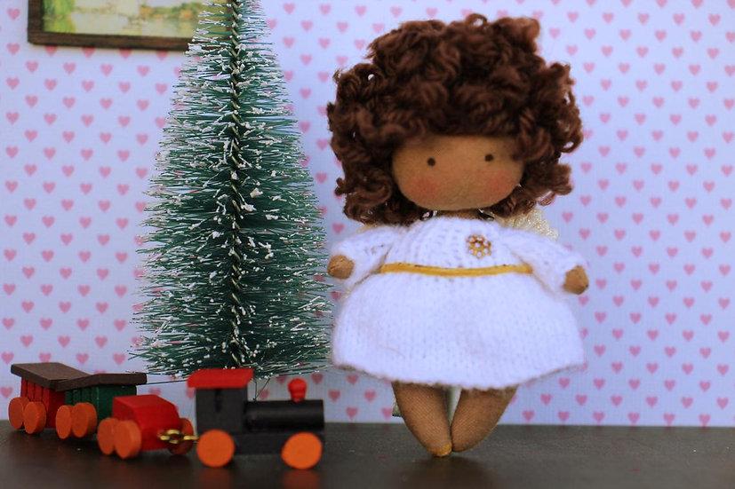 Mini handmade black rag doll for dollhouse 1/12 scale christmas gift