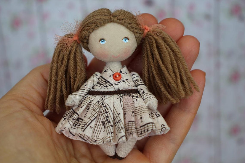 Small handmade collectible OOAK doll for dollhouse 1/12 scale perfect personalized gift for music teacher or music lover