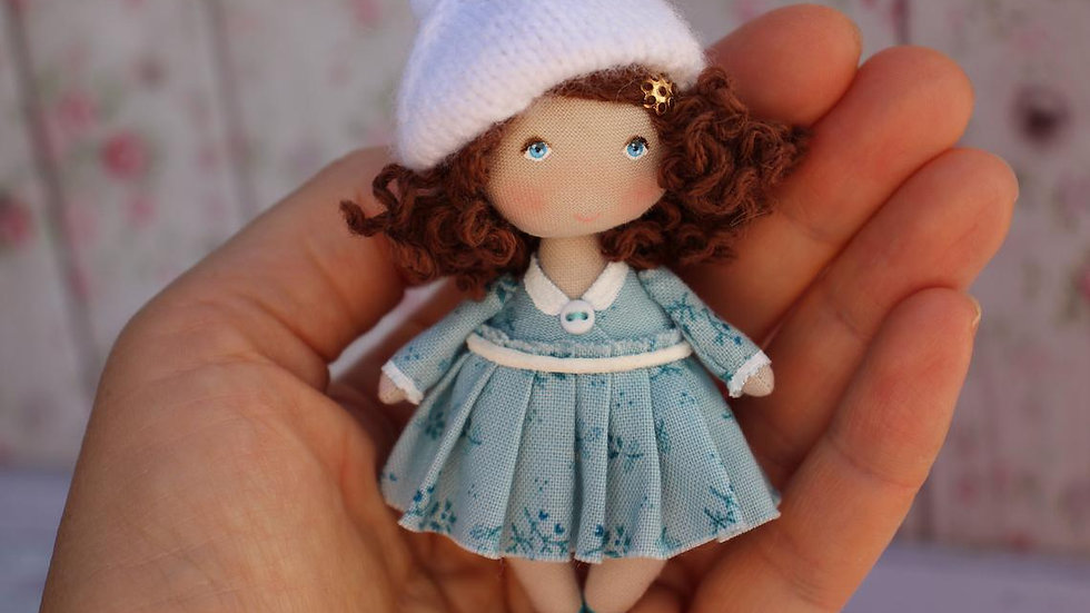 Cloth art collectible dollhouse miniature doll - small fabric pocket doll