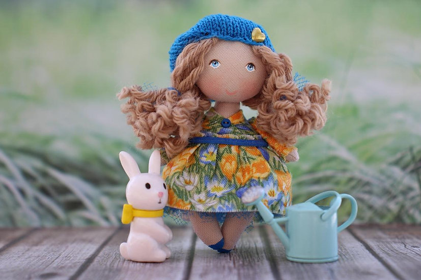 tiny handmade fabric doll - cloth craft doll collectible for dollhouse cute christmas gift in garden